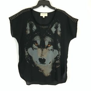 B.P. Collection wolf & hardware popover blouse-S